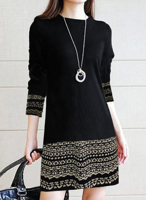 Casual Color Block Pencil Round Neckline Bodycon Dress