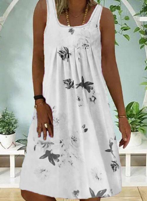 Casual Floral Round Neckline Above Knee A-line Dress