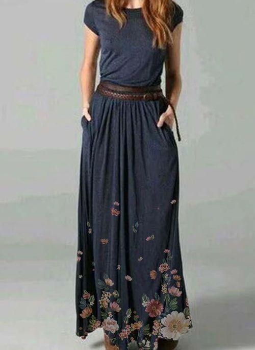 Casual Floral Round Neckline Maxi X-line Dress