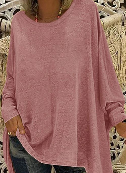 Plus Size Solid Casual Round Neckline Long Sleeve Blouses