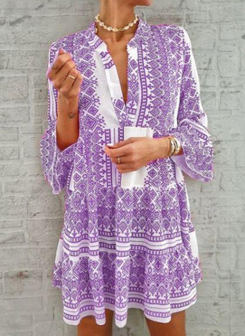 Casual Geometric Tunic V-Neckline A-line Dress