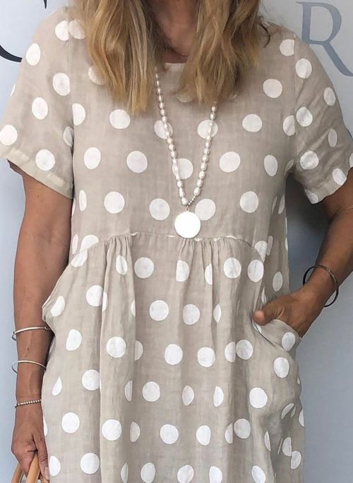 Casual Polka Dot Tunic Round Neckline Shift Dress