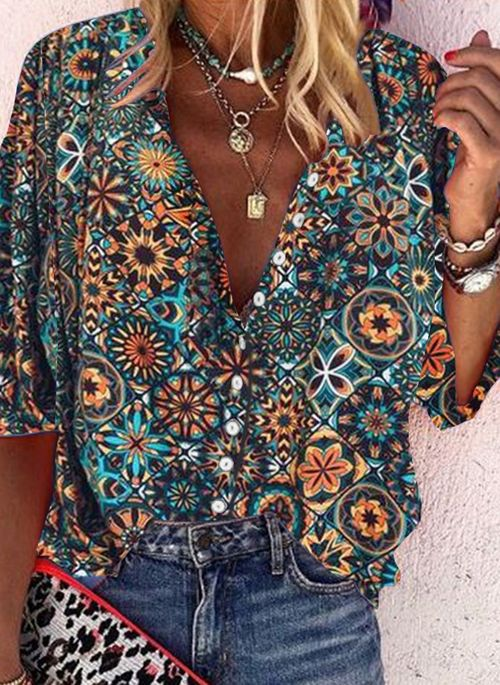 Floral Casual Collar Half Sleeve Blouses