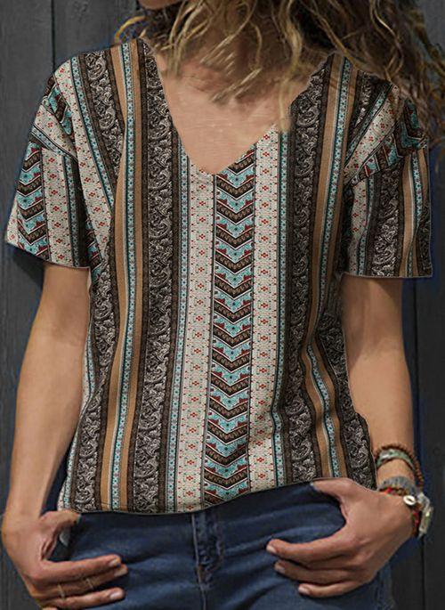 Floral Vintage V-Neckline Short Sleeve Blouses