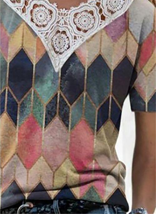 Geometric Casual V-Neckline Short Sleeve Blouses