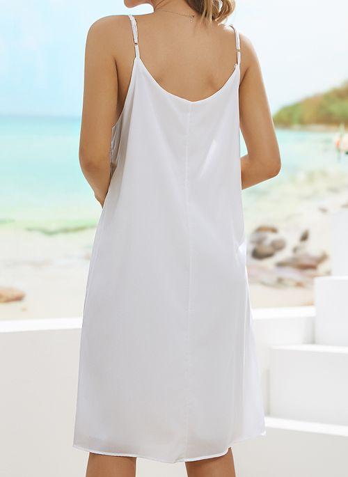 Casual Solid Slip Camisole Neckline Shift Dress