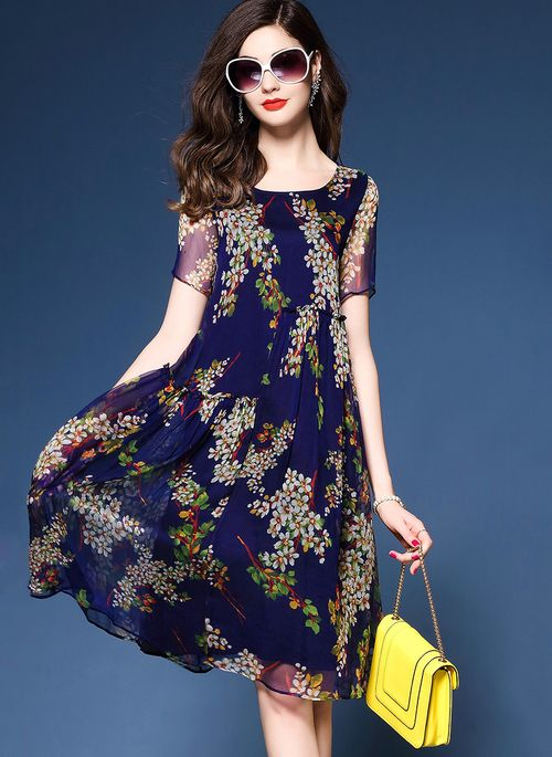 Floral Peasant Round Neckline Knee-Length Shift Dress