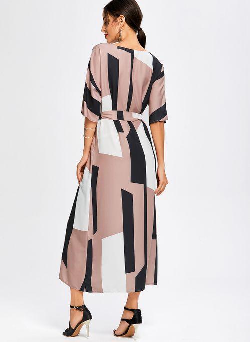 Casual Color Block Round Neckline Maxi X-line Dress