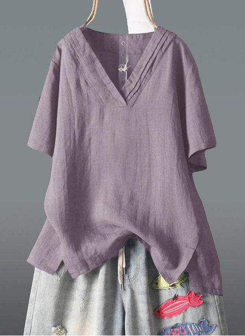 Solid Casual V-Neckline Short Sleeve Blouses