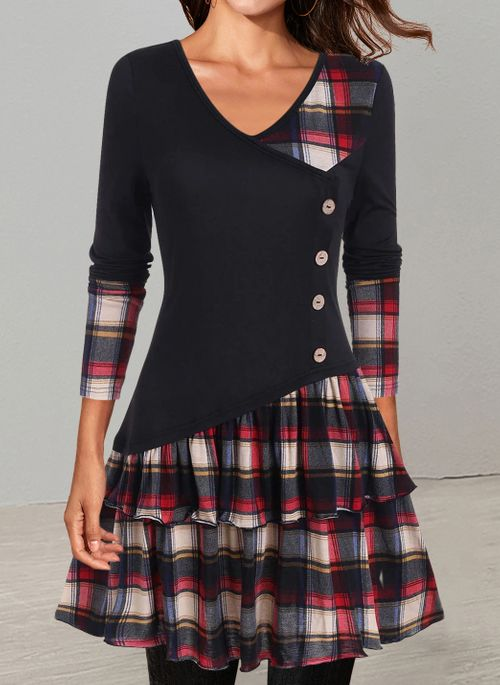 Casual Plaid Skater V-Neckline X-line Dress