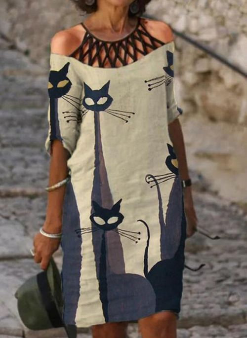 Casual Animal Tunic Halter Neckline A-line Dress
