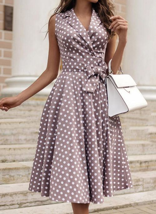 Elegant Polka Dot Wrap V-Neckline X-line Dress
