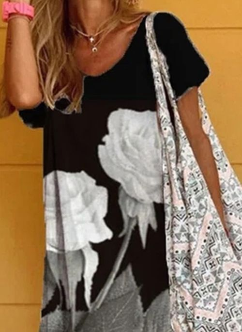 Casual Floral Round Neckline Knee-Length Shift Dress