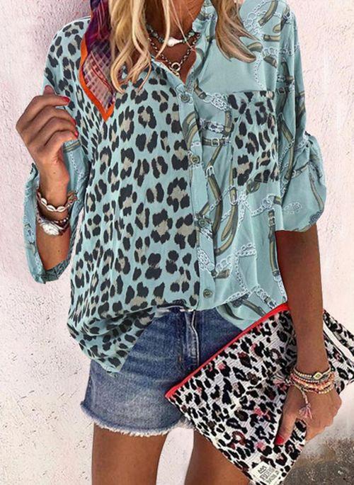 Leopard Casual V-Neckline Long Sleeve Blouses