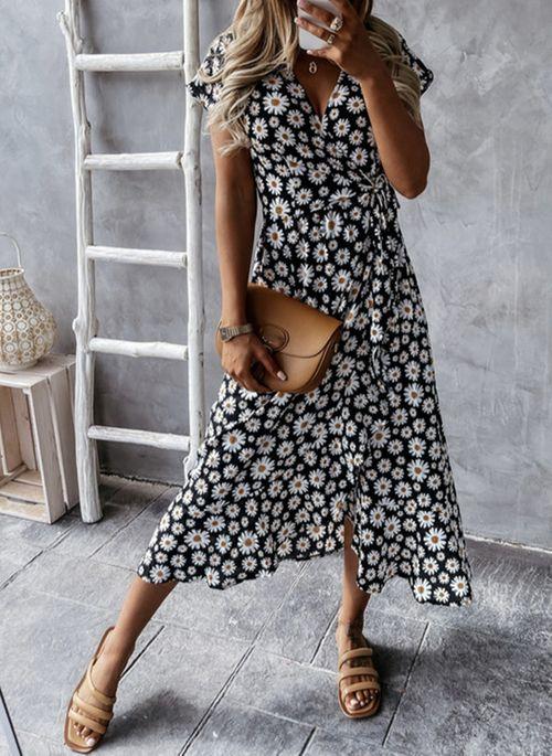 Casual Floral Wrap V-Neckline X-line Dress