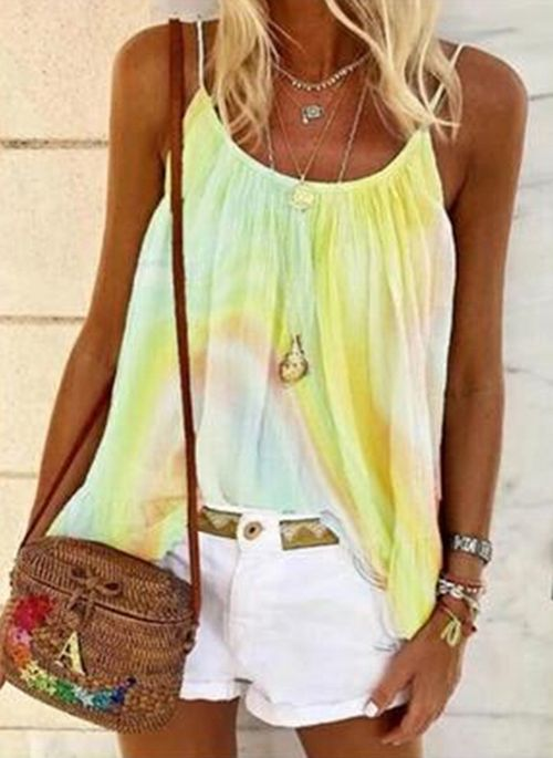 Color Block Casual Camisole Neckline Sleeveless Blouses