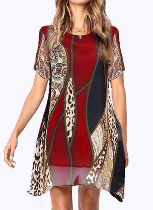 Casual Leopard Tunic Round Neckline A-line Dress