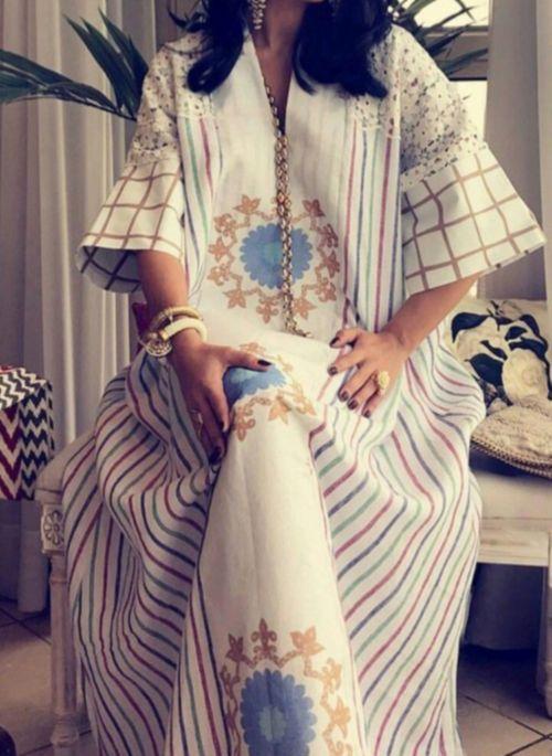 Casual Stripe Tunic V-Neckline Shift Dress