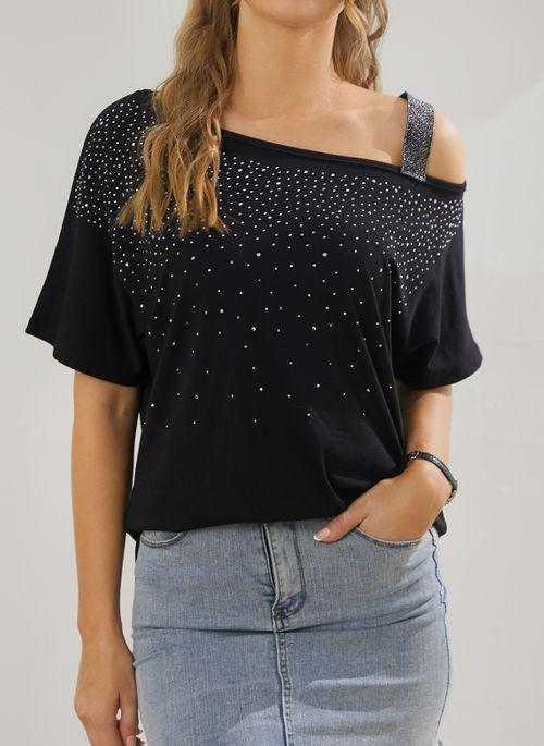 Color Block Casual Oblique Neckline Short Sleeve Blouses
