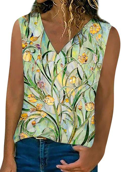 Floral Casual V-Neckline Sleeveless Blouses