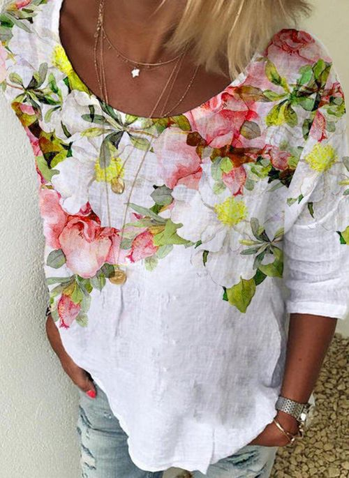 Floral Spring Round Neckline 3/4 Sleeves Blouses