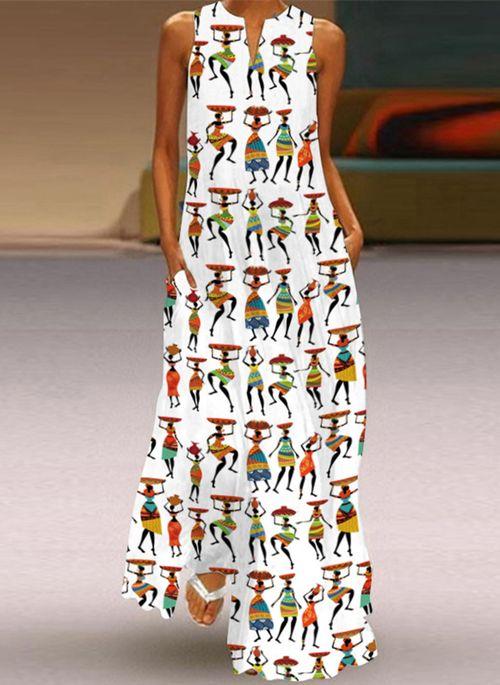 Casual Character V-Neckline Maxi A-line Dress