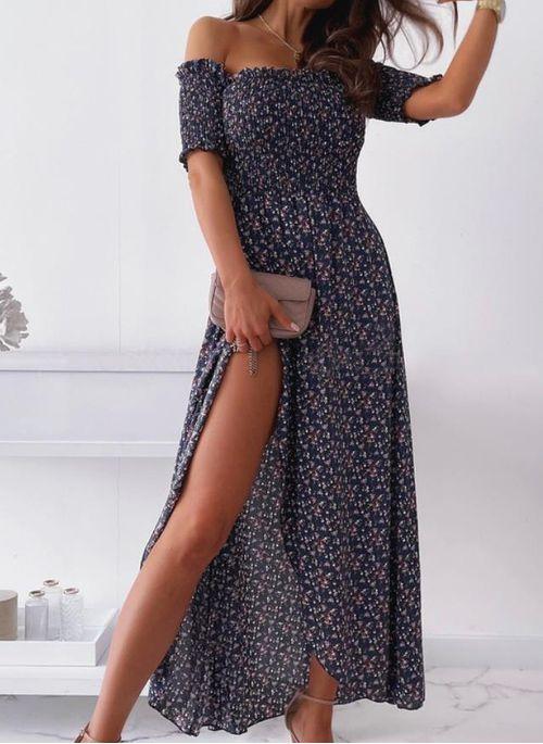 Elegant Color Block Off the Shoulder Maxi X-line Dress