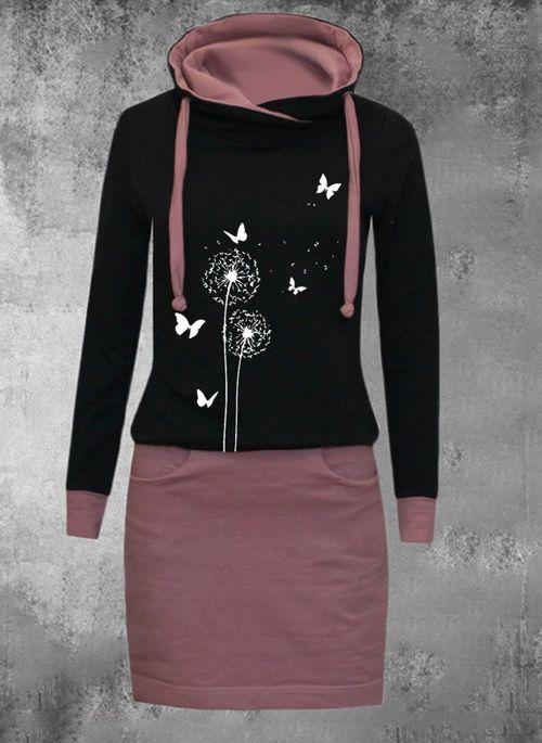 Casual Floral Sweatershirt High Neckline Shift Dress