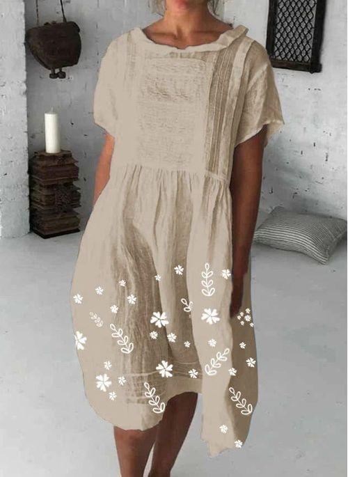 Casual Floral Round Neckline Knee-Length X-line Dress