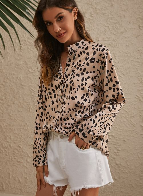 Leopard Casual Collar Long Sleeve Blouses