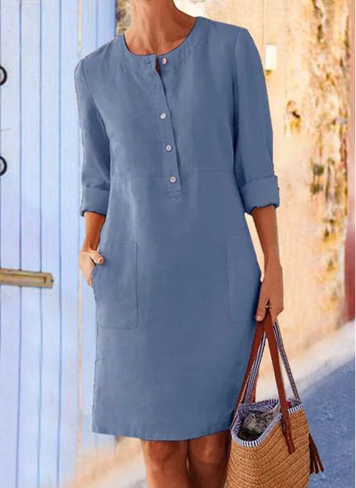 Casual Solid Tunic Round Neckline Shift Dress