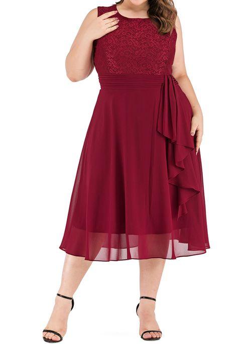 Plus Size Casual Solid Round Neckline Midi X-line Dress