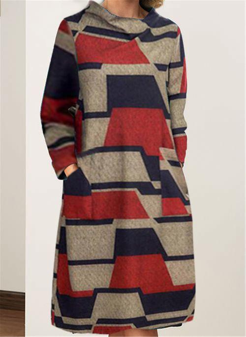 Casual Color Block Long Sleeve Knee-Length Dress