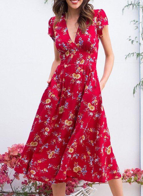 Casual Floral V-Neckline Midi X-line Dress