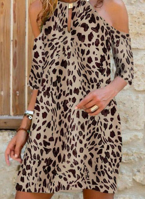 Sexy Leopard Tunic Halter Neckline Shift Dress