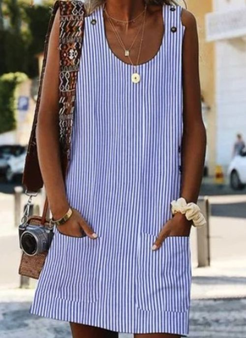 Casual Stripe Tunic Round Neckline A-line Dress
