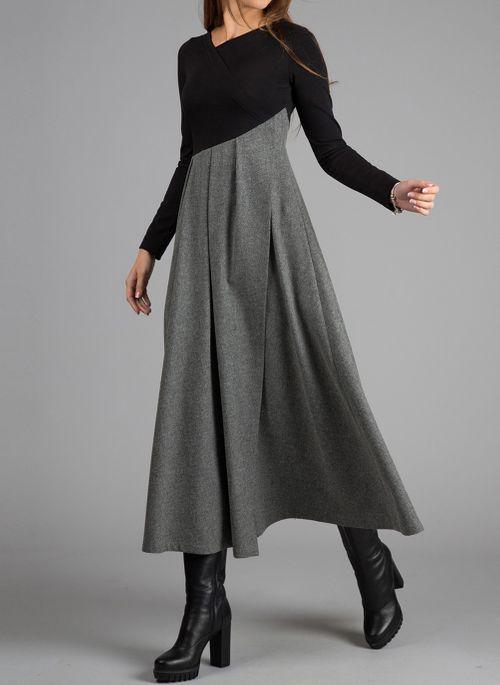 Elegant Color Block V-Neckline Long Sleeve Midi Dress