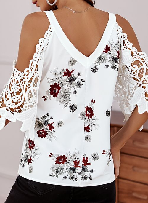 Floral Casual V-Neckline 3/4 Sleeves Blouses