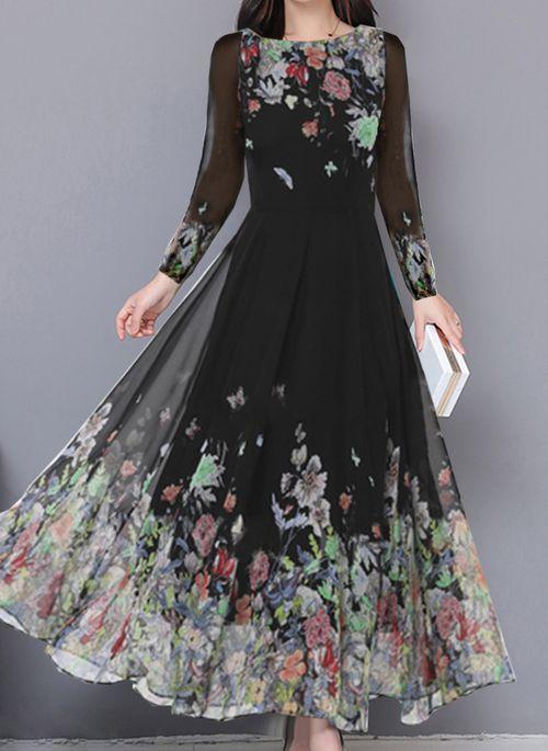 Vintage Floral Round Neckline Maxi X-line Dress