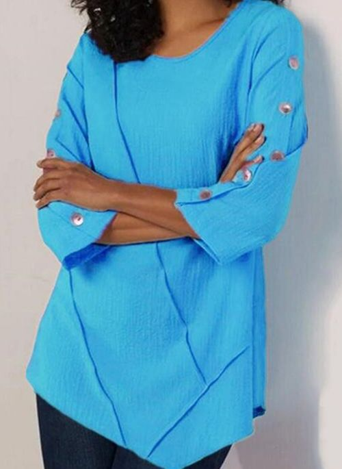 Solid Casual Round Neckline 3/4 Sleeves Blouses