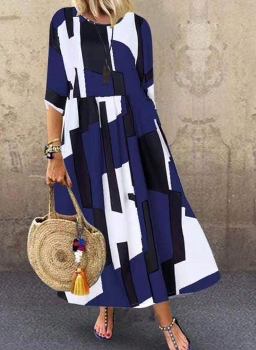 Casual Color Block Tunic Round Neckline A-line Dress