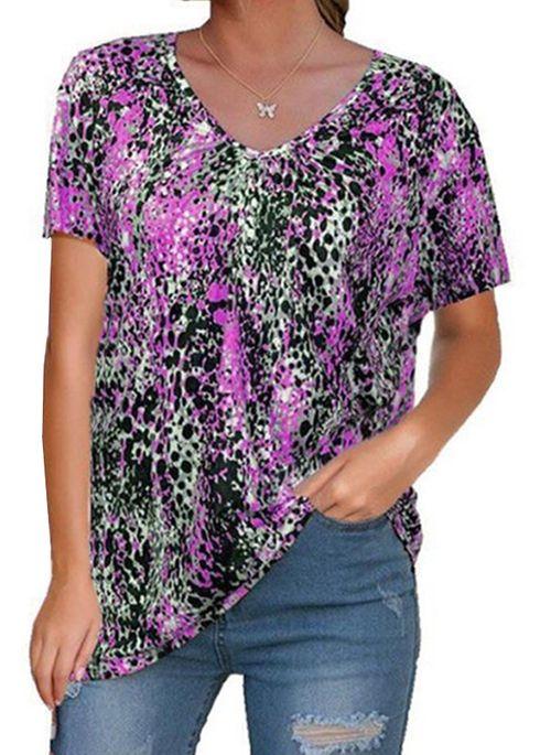 Color Block Casual V-Neckline Short Sleeve Blouses