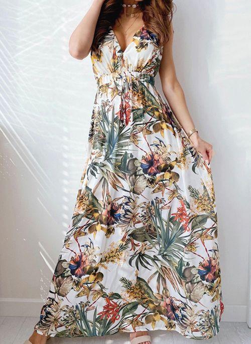Casual Floral V-Neckline Maxi X-line Dress