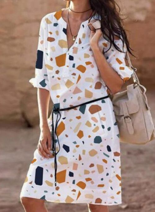 Casual Geometric Tunic Round Neckline A-line Dress