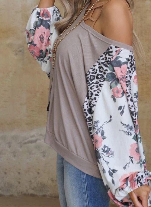 Floral Casual Oblique Neckline Long Sleeve Blouses