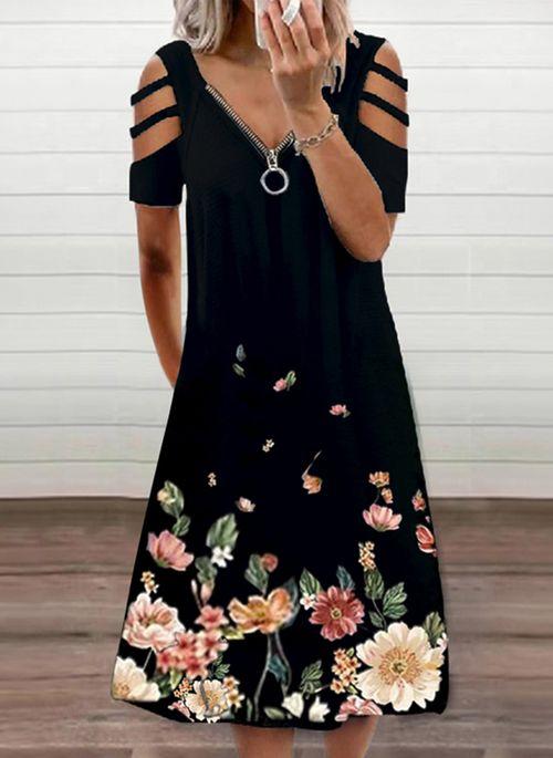 Casual Floral V-Neckline Midi A-line Dress