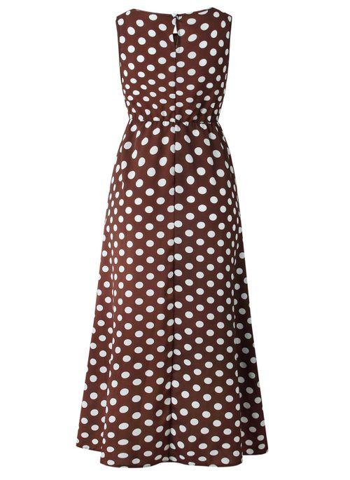Casual Polka Dot Round Neckline Maxi X-line Dress