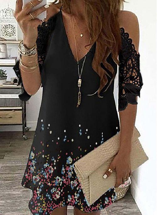 Casual Floral Tunic V-Neckline A-line Dress