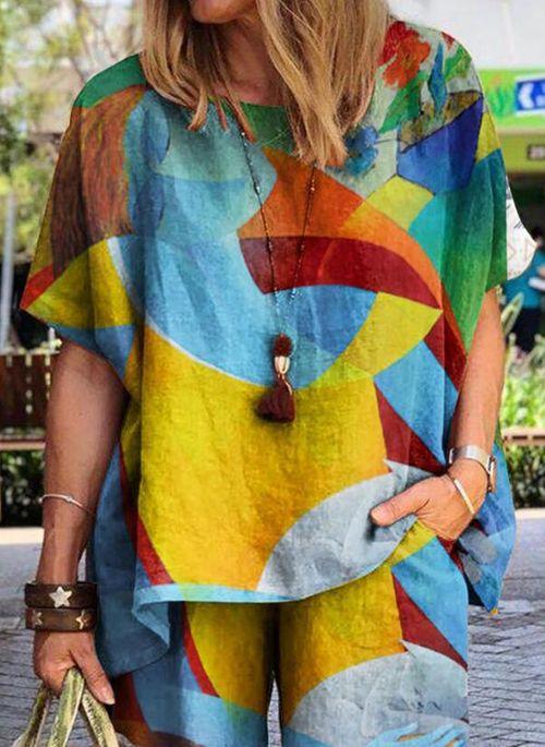 Color Block Casual Round Neckline Half Sleeve Blouses
