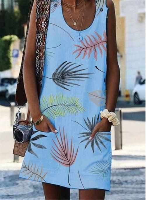 Casual Floral Strapless Neckline Above Knee Shift Dress